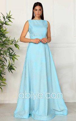 Bebe Mavisi Uzun Abiye Elbise