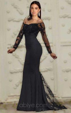 Siyah Flok Baskı Balık Abiye Elbise