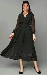 Siyah Şifon Midi Abiye Elbise