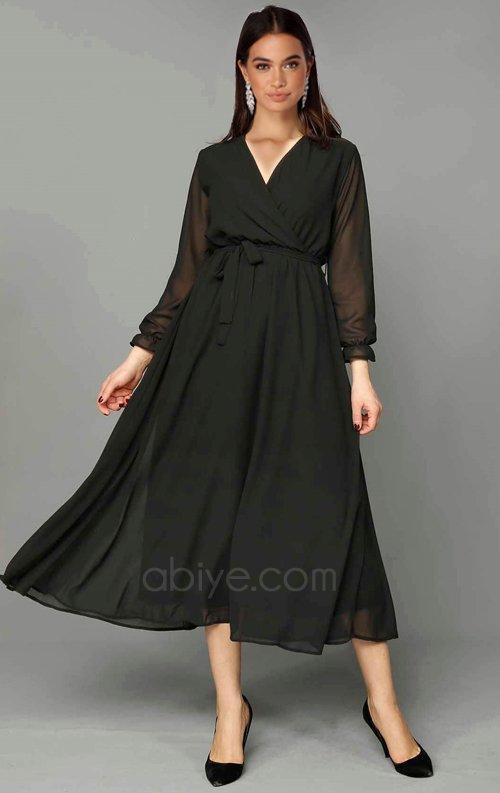 9091972cdf8a9 Siyah Şifon Midi Abiye Elbise