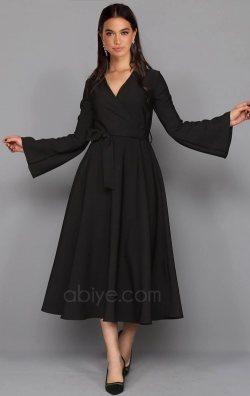 Siyah İspanyol Kol Midi Abiye Elbise