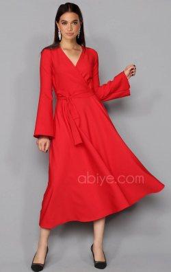 Kırmızı İspanyol Kol Midi Abiye Elbise