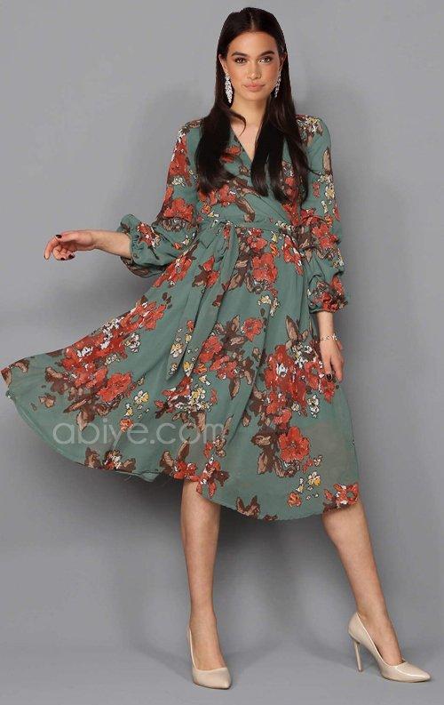 Romantik Çiçek Desen Şifon Elbise