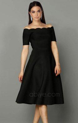 f5640578526e3 Kayık Yaka Midi Abiye Elbise