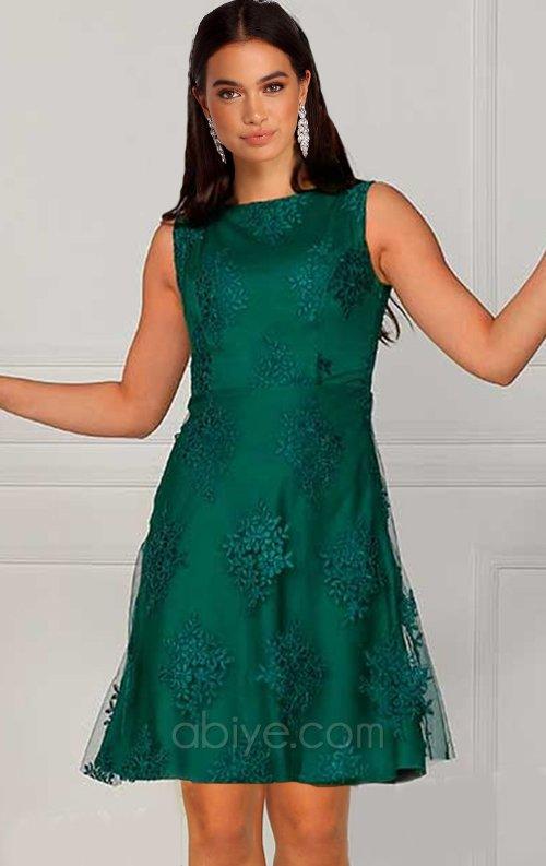Yeşil Kısa Dantel Abiye Elbise