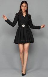 Siyah Kemerli Kısa Elbise