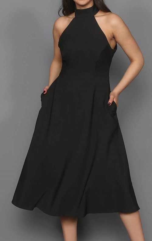 Siyah Cepli Midi Abiye Elbise