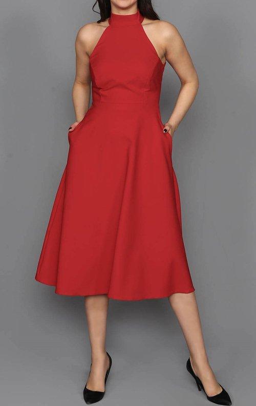 Kırmızı Cepli Midi Abiye Elbise