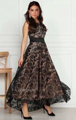 Siyah Güpür Dantel Abiye Elbise