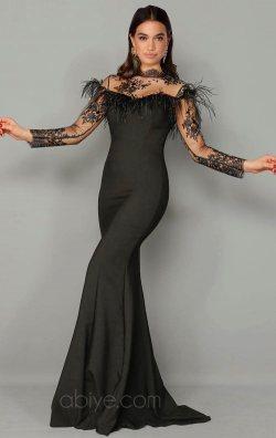 Siyah Güpürlü Uzun Balık Abiye Elbise