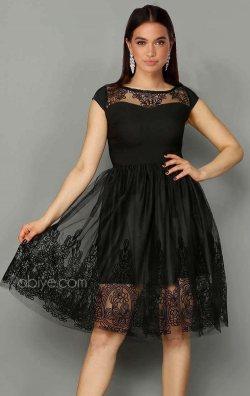Siyah Güpür Kısa Abiye Elbise