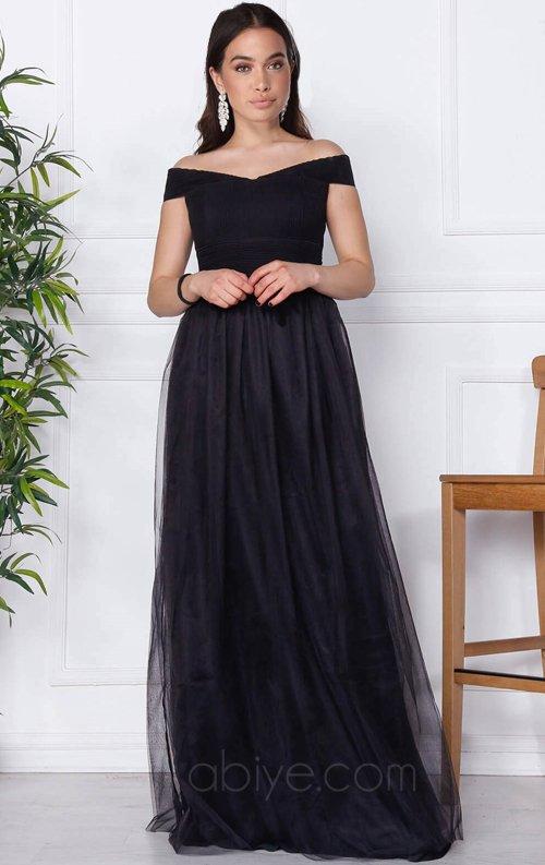 Siyah Tüllü Uzun Abiye Elbise