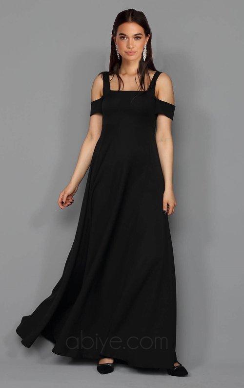 Siyah Kol Detaylı Uzun Abiye Elbise