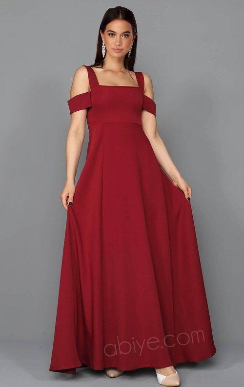 Bordo Kol Detaylı Uzun Abiye Elbise