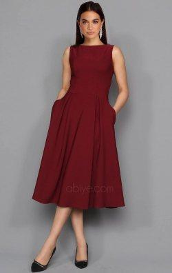 Bordo Kolsuz & Cepli Midi Abiye Elbise