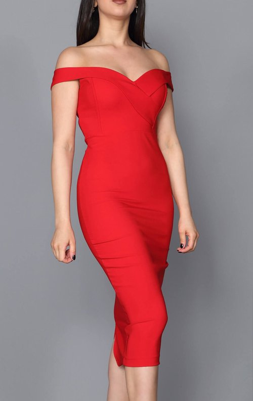 Kırmızı Kalem Midi Abiye Elbise