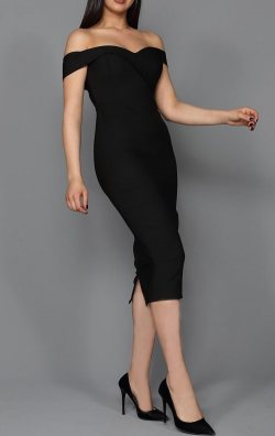 Siyah Kalem Midi Abiye Elbise