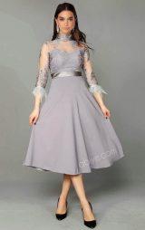 Gri Güpür Dantel Detay Midi Abiye Elbise