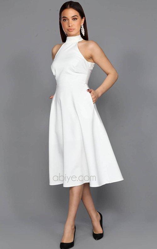 Beyaz Cepli Midi Abiye Elbise