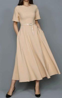 Krem Kemerli Midi Abiye Elbise