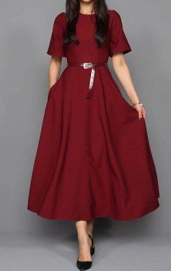 Bordo Kemerli Midi Abiye Elbise