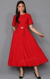 Kırmızı Kemerli Midi Abiye Elbise