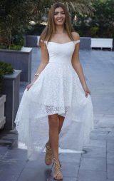 Beyaz Asimetrik Dantel Abiye Elbise