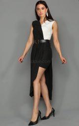 Siyah Beyaz Asimetrik Mini Elbise