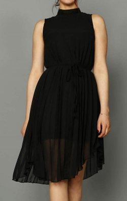 Siyah Şifon Pilise Detay Elbise
