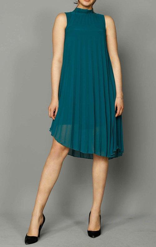 Yeşil Şifon Pilise Detay Elbise