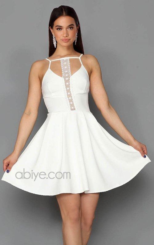 Beyaz Güpür Detay Kısa Abiye Elbise
