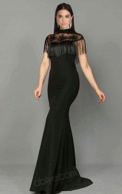 Siyah Püsküllü Balık Abiye Elbise