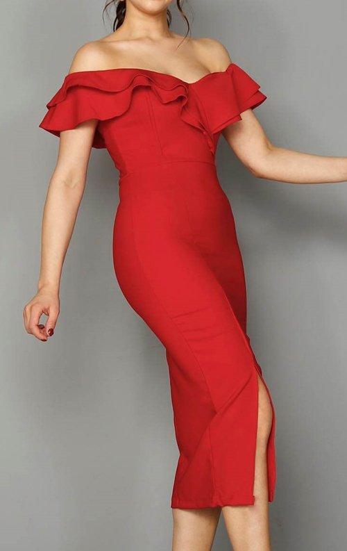 Kırmızı Fırfırlı Kalem Abiye Elbise