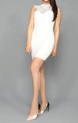 Beyaz Güpür Detaylı Kısa Abiye Elbise