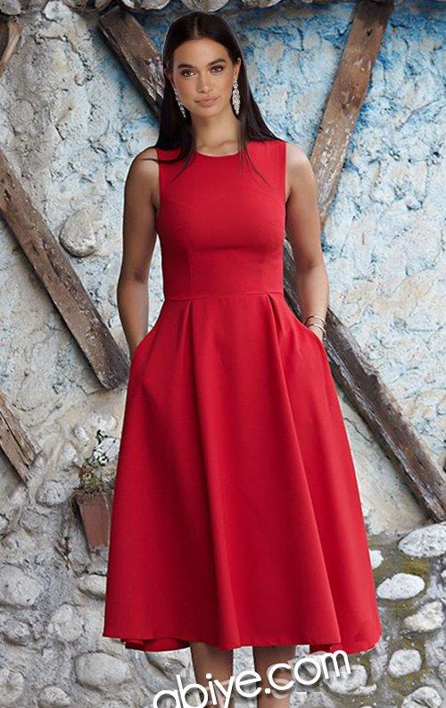 Kırmızı Sıfır Kol Cepli Midi Abiye Elbise