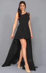 Siyah Asimetrik Tasarımlı Abiye Elbise