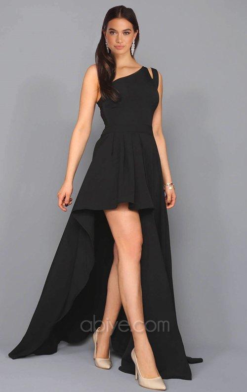 4acbcea37e216 Siyah Asimetrik Tasarımlı Abiye Elbise