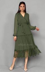 Haki Şifon Güpür Detay Abiye Elbise