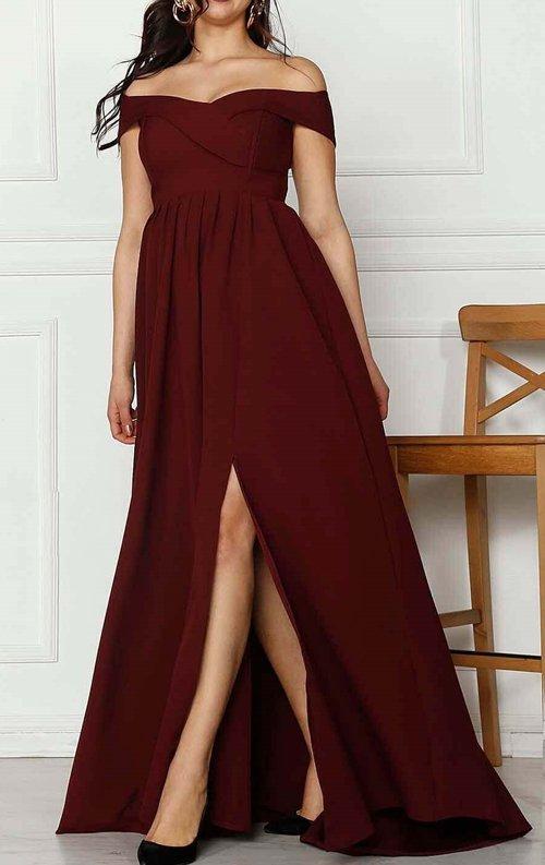 Bordo Yırtmaçlı Uzun Abiye Elbise