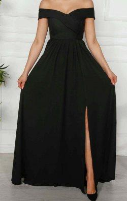 Siyah Yırtmaçlı Uzun  Abiye Elbise