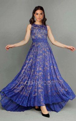 Mavi Güpür Dantel Abiye Elbise