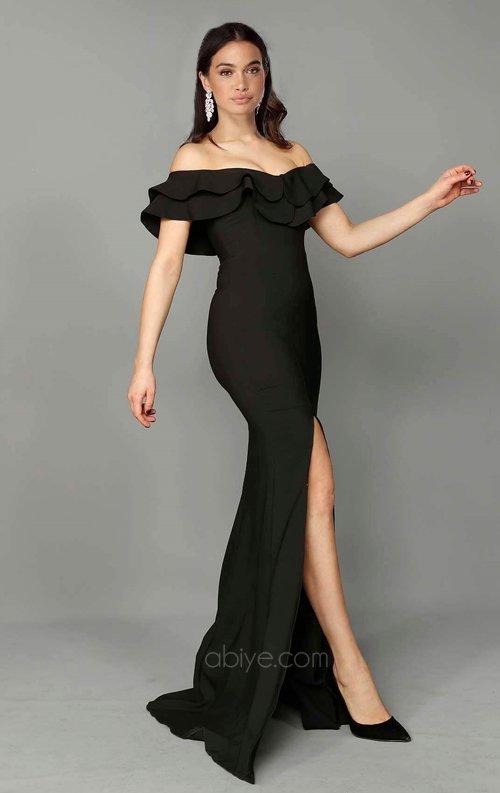 Siyah Volanlı Balık Abiye Elbise