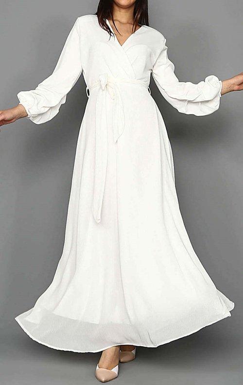 Beyaz Şifon Uzun Abiye Elbise