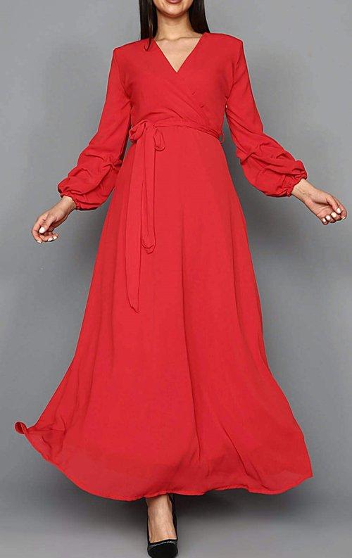 a0addebdbb861 Kırmızı Şifon Uzun Abiye Elbise Fiyatı