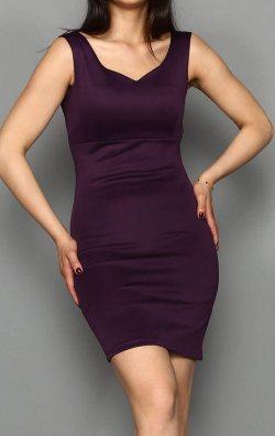 Mürdüm Kalp Yaka Mini Abiye Elbise