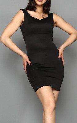 Siyah Kalp Yaka Mini Abiye Elbise