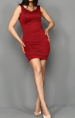 Bordo Kalp Yaka Mini Abiye Elbise