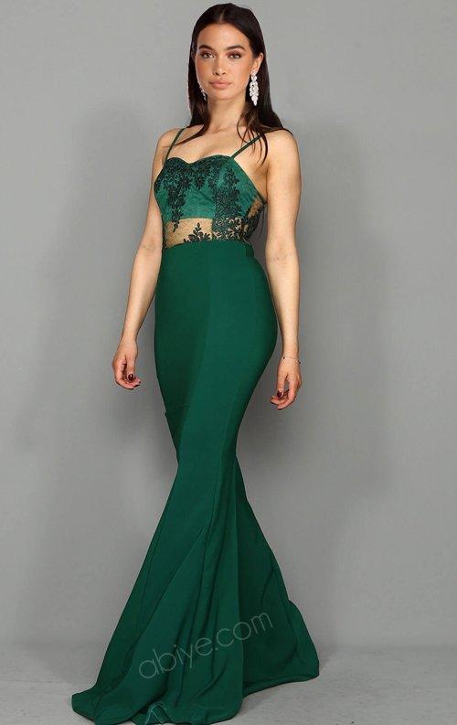 Yeşil Flok Baskı Uzun Balık Abiye Elbise