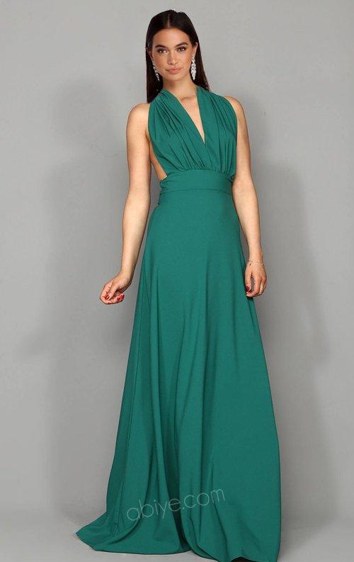 Yeşil Tasarım Uzun Abiye Elbise