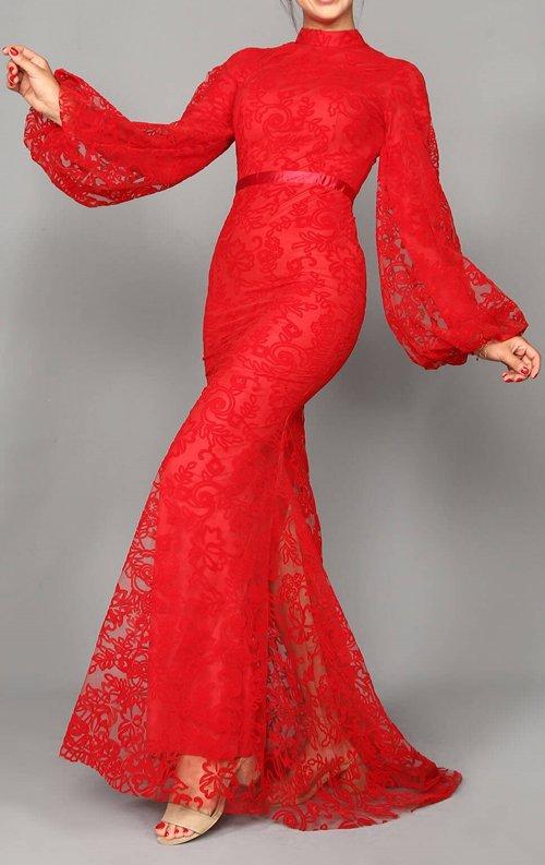 Kırmızı Dantel Uzun Abiye Elbise
